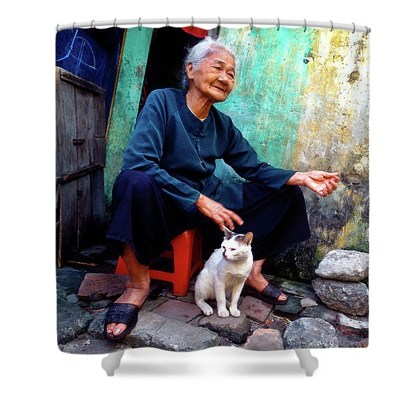 The Woman And The Cat Shower Curtain