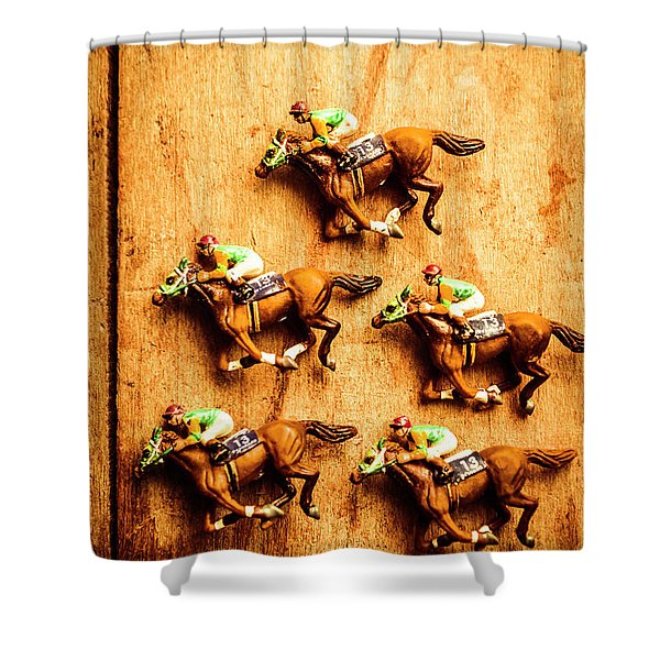 The Wooden Horse Race Shower Curtain