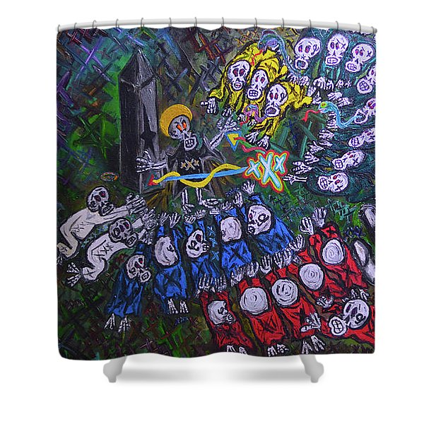 The Wooorship Shower Curtain