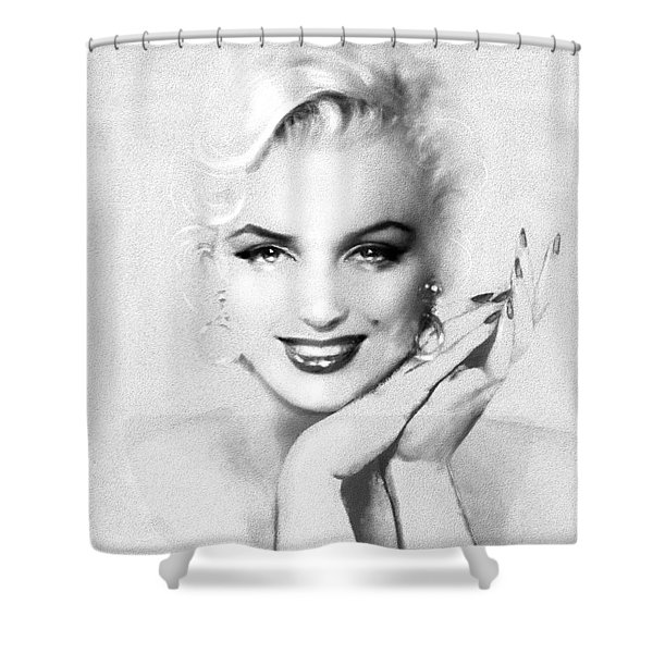 Theo's Marilyn 133 Bw Shower Curtain
