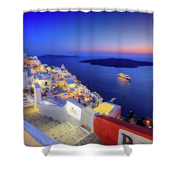 Thera Sunset  Shower Curtain