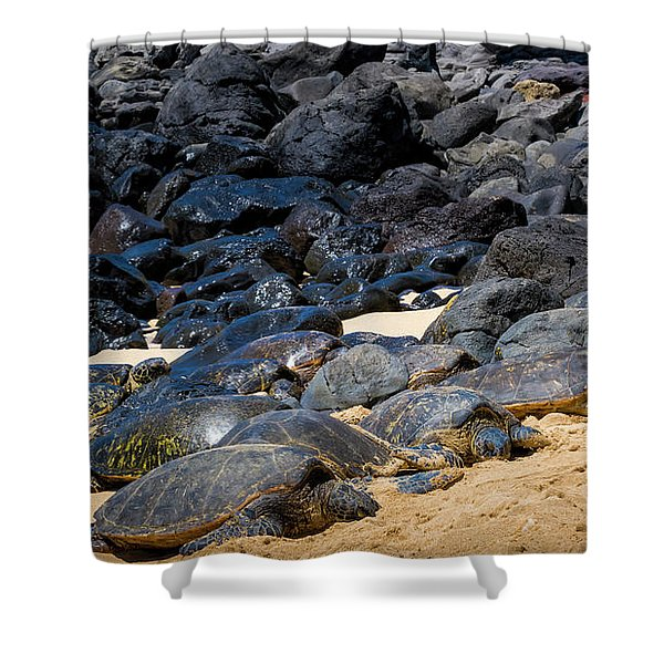 Shower Curtain featuring the photograph There Has Got To Be More Room On This Beach  by Jim Thompson