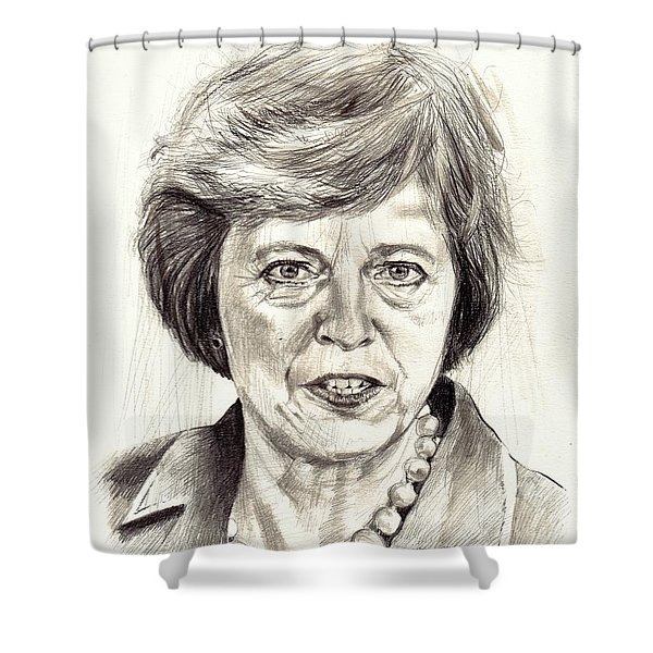 Theresa May Portrait Shower Curtain