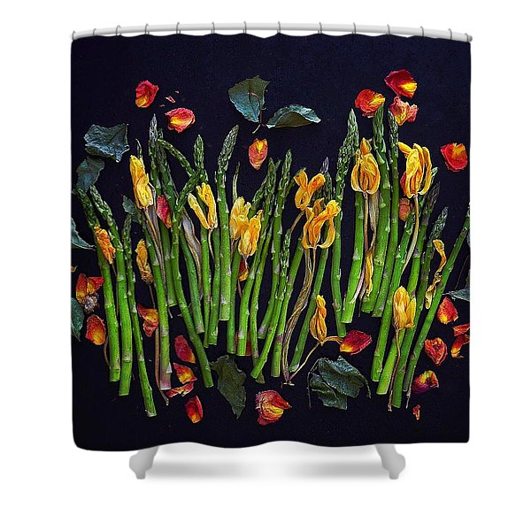 Think Spring Asparagus Shower Curtain
