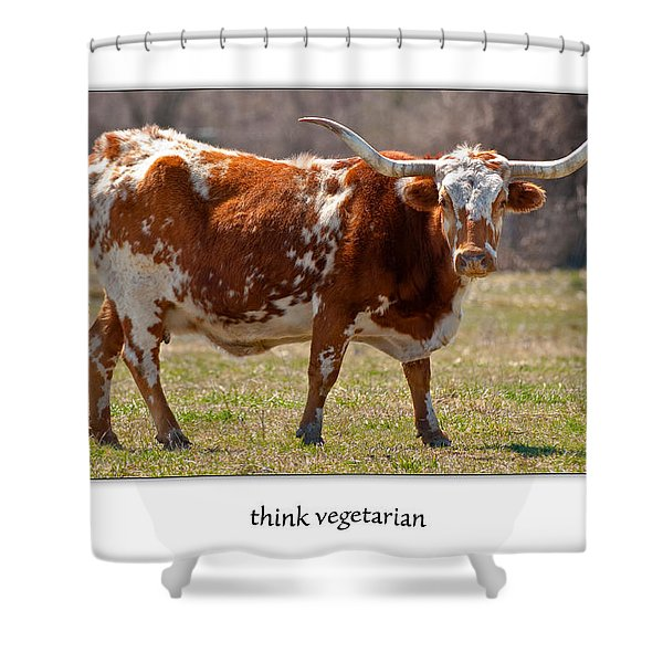 Think Vegetarian Shower Curtain