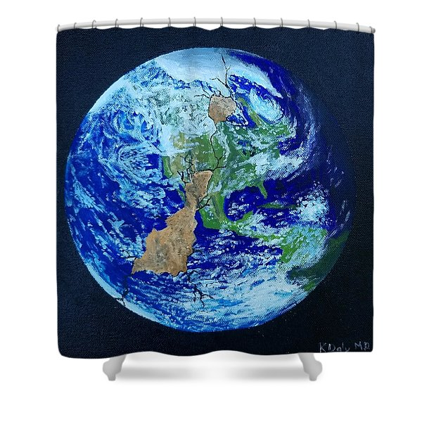 Shower Curtain featuring the painting Thinner Than An Eggshell by Kevin Daly