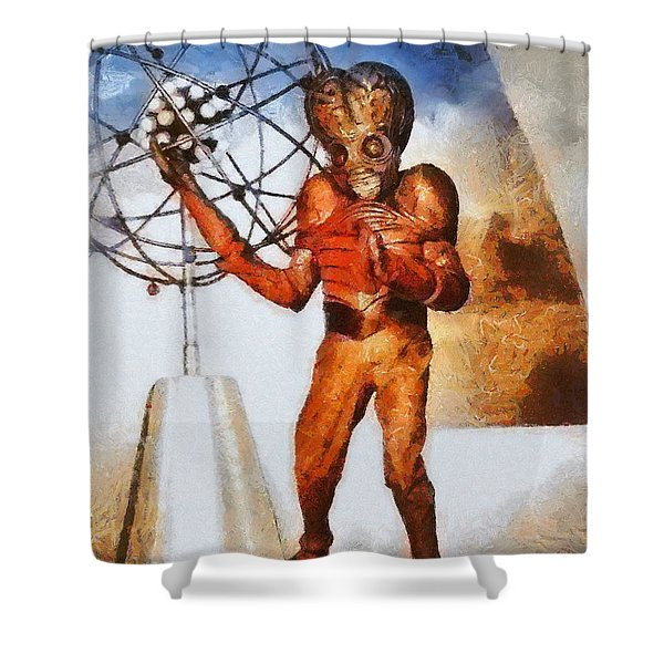 This Island Earth, Vintage Sci-fi Shower Curtain