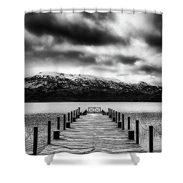Landscape With Lake And Snowy Mountains In The Argentine Patagonia - Black And White Shower Curtain