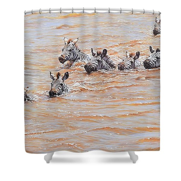 Shower Curtain featuring the painting This Way Mum by Alan M Hunt