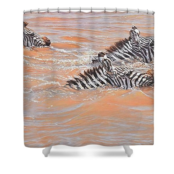 Shower Curtain featuring the painting This Way Son by Alan M Hunt
