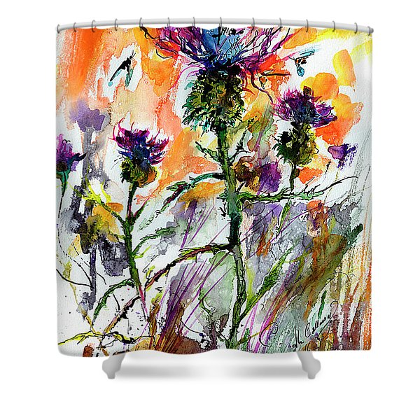 Thistles And Bees Watercolor And Ink Shower Curtain