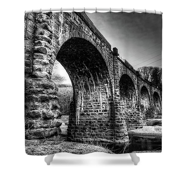 Thomas Viaduct In Black And White Shower Curtain