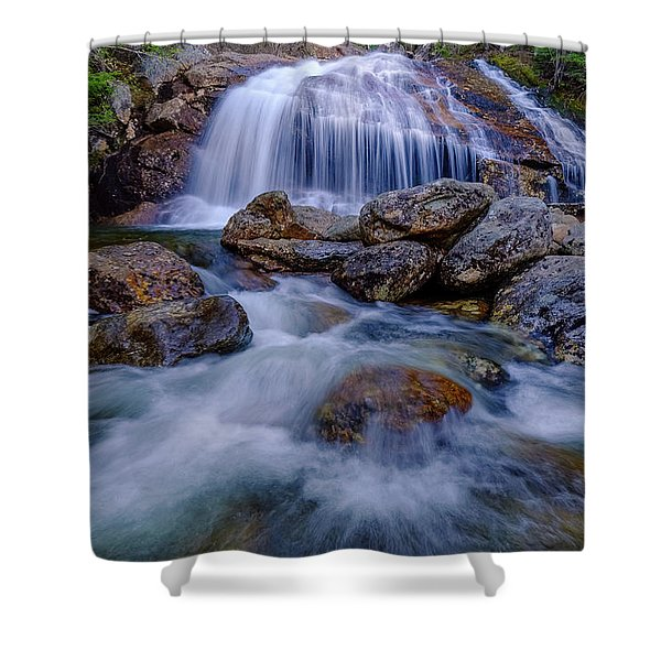 Shower Curtain featuring the photograph Thompson Falls, Pinkham Notch, Nh by Jeff Sinon