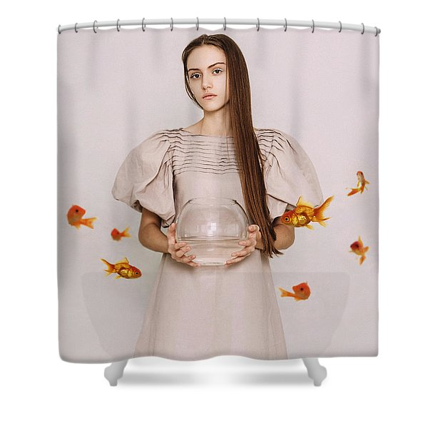 Thoughts Of Freedom. Series Escape Of Golden Fish  Shower Curtain