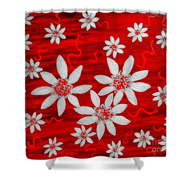 Three And Twenty Flowers On Red Shower Curtain