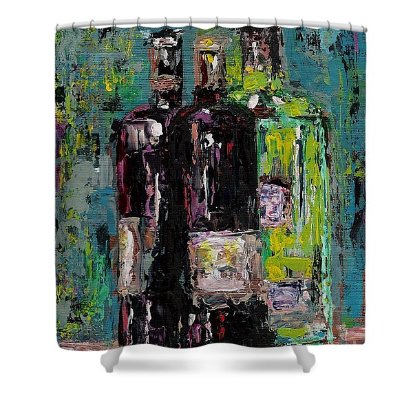 Three Bottles Of Wine Shower Curtain