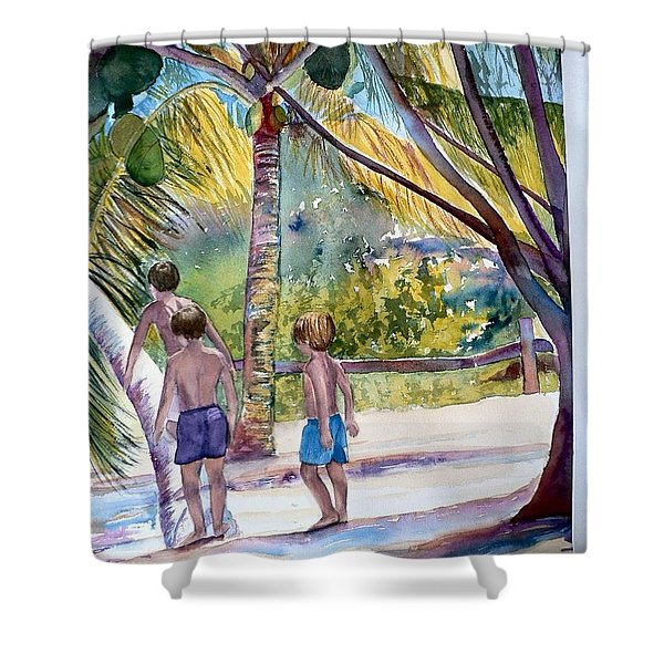 Three Boys Climbing Shower Curtain