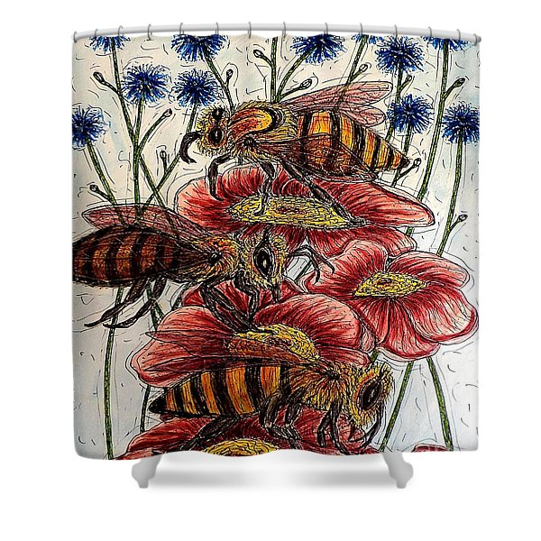 Three Busy Bees Shower Curtain