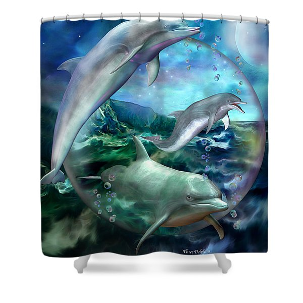 Three Dolphins Shower Curtain
