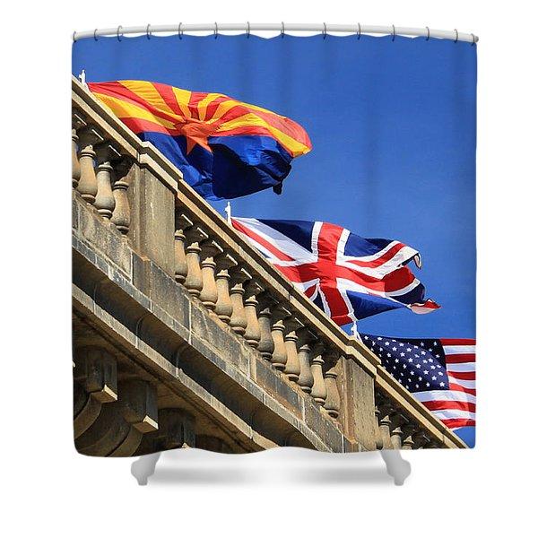 Three Flags At London Bridge Shower Curtain