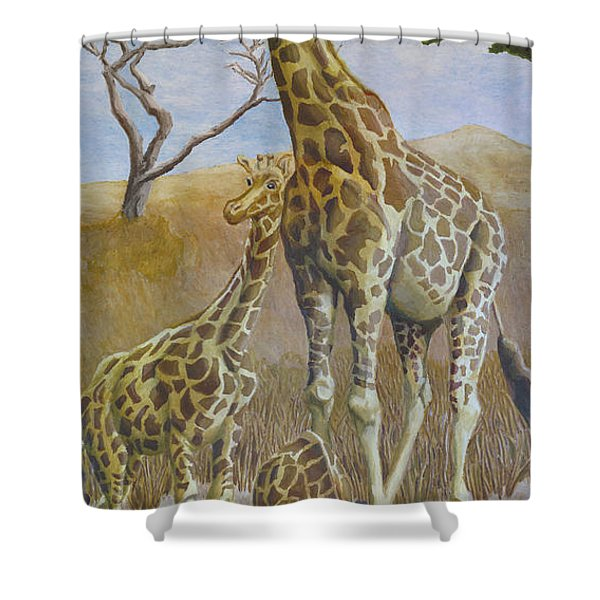 Three Giraffes Shower Curtain