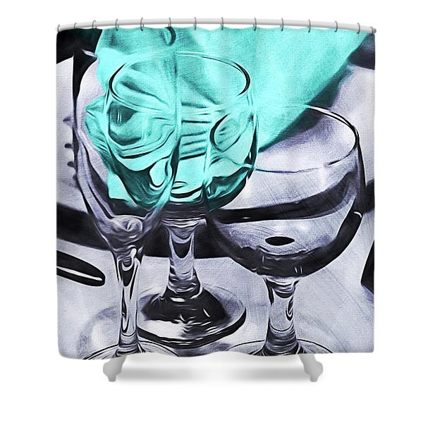Three Glass Illusion Shower Curtain