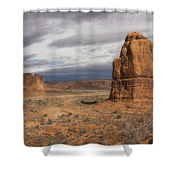Three Gossips And Courthouse Towers Panorama - Arches National Park - Moab Utah Shower Curtain