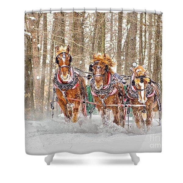 Three Horses Running Shower Curtain
