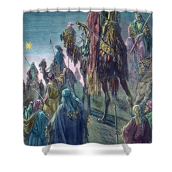 Three Kings  Christmas Card Shower Curtain