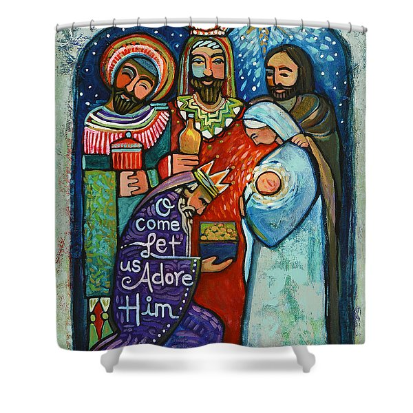Three Kings O Come Let Us Adore Him Shower Curtain