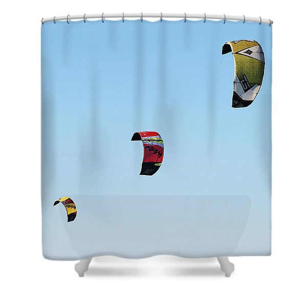 Shower Curtain featuring the photograph Three Kites by William Selander