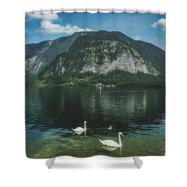 Three Lake Hallstatt Swans Shower Curtain