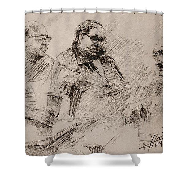 Three Men Chatting Shower Curtain