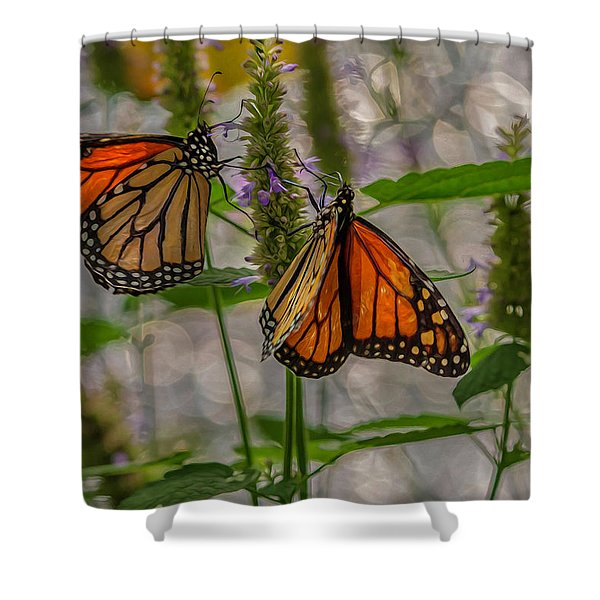 Three Monarch Butterfly Shower Curtain