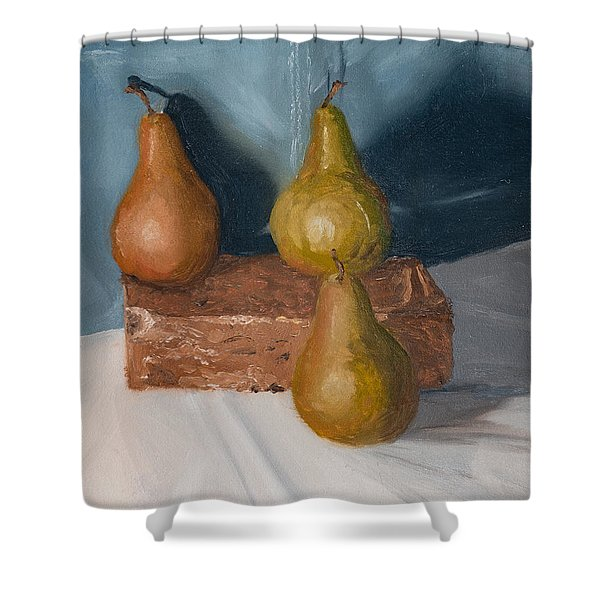 Shower Curtain featuring the painting Three Pears by Break The Silhouette