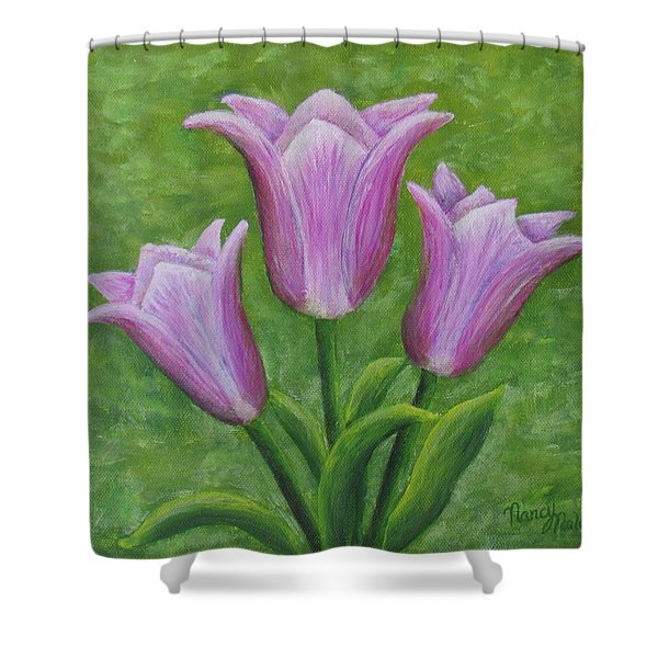 Shower Curtain featuring the painting Three Pink Tulips by Nancy Nale