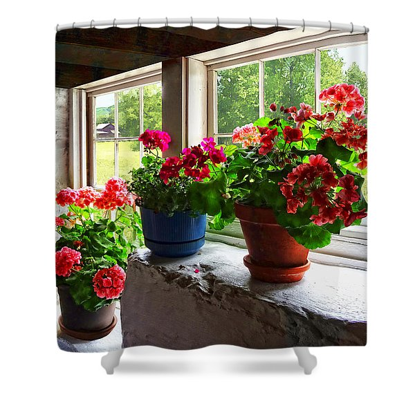 Three Pots Of Geraniums On Windowsill Shower Curtain