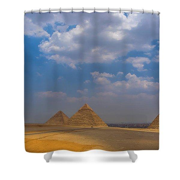 Three Pyramids Of Giza Shower Curtain