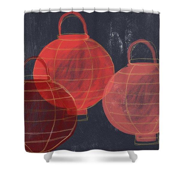Three Red Lanterns- Art By Linda Woods Shower Curtain