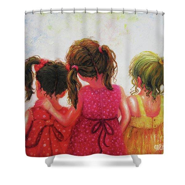 Three Sisters Brunette, Redhead, Blonde Shower Curtain