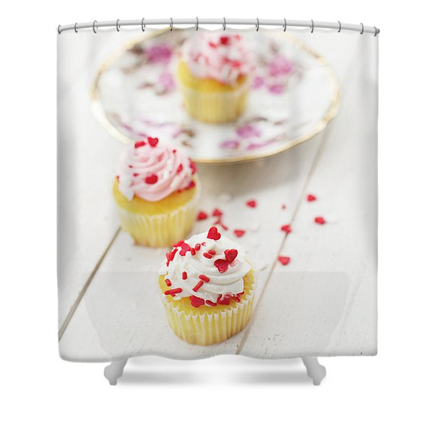 Three Tiny Cupcakes Shower Curtain