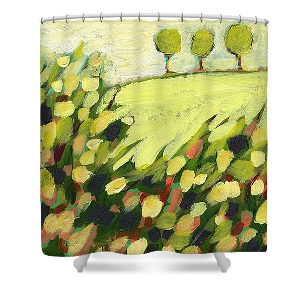 Three Trees On A Hill Shower Curtain