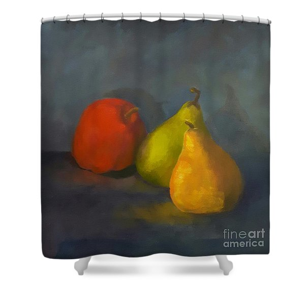 Shower Curtain featuring the painting Three's A Crowd by Genevieve Brown