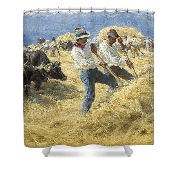Threshing In The Abruzzi, 1890 Shower Curtain