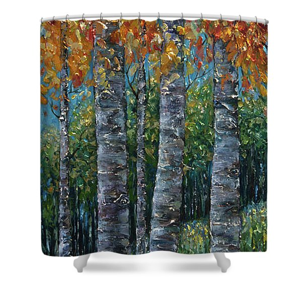 Through The Aspen Trees Diptych 2 Shower Curtain