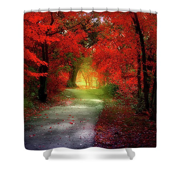 Through The Crimson Leaves To A Golden Beginning Shower Curtain