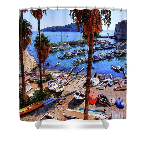 Through The Trees Dubrovnik Harbour Shower Curtain