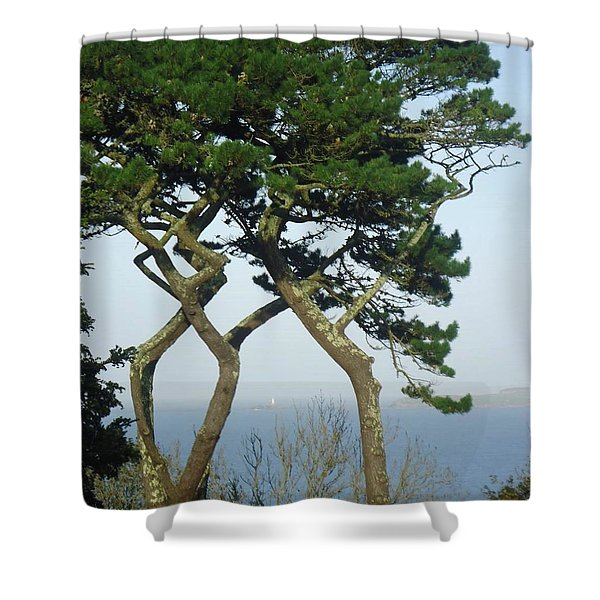 Through The Trees To Godrevy From St. Ives Shower Curtain