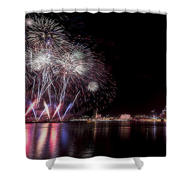 Shower Curtain featuring the photograph Thunder Over Louisville by Andrea Silies