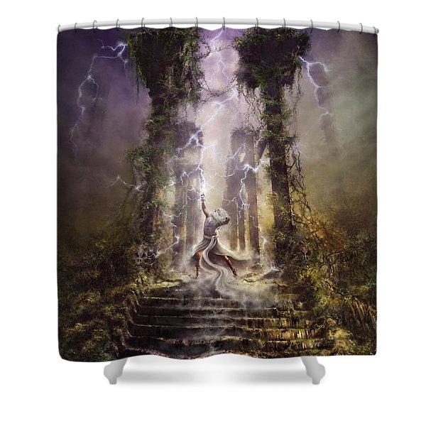 Thunderstorm Wizard Shower Curtain